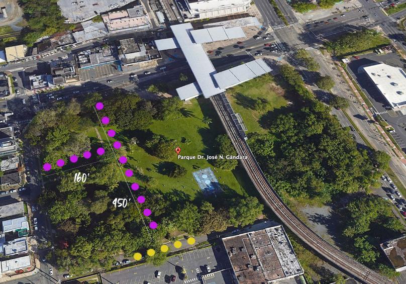 Plano de los kioscos en arte en el gándara. parque gándar